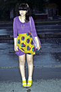 Purple-topshop-dress-yellow-gift-from-my-boss-skirt-minority-necklace-beig
