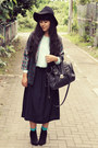 Black-asos-boots-black-topshop-hat-silver-vintage-blazer