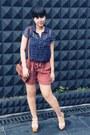 Navy-heart-printed-primark-blouse-dark-brown-belted-sling-vintage-bag