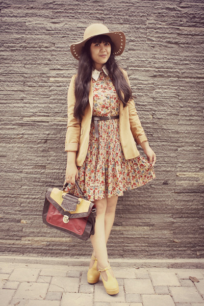 light brown Choies dress - camel Oasis hat - brown tiny dot suede vintage blazer