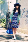 Blue-bluish-abstract-body-soul-dress-navy-vintage-hat