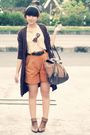 Brown-dloops-cardigan-yellow-friday-to-sunday-top-orange-vintage-shorts-br