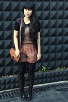 black bowy Topshop tights - tawny belted sling vintage bag