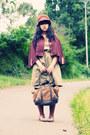 Olive-green-amanda-dream-shop-dress-dark-brown-fluffy-cloche-vintage-hat