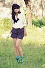 White-thrift-store-blouse-black-local-store-shorts-black-saks-fifth-avenue-h