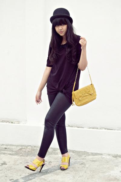 yellow vintage bag - yellow Chrysalis shoes - black Bloop Relaxing dress