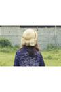 Navy-swallow-wrap-vintage-dress-beige-vintage-hat-periwinkle-asos-bag