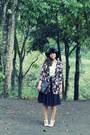 Black-floral-primark-coat-black-felt-floppy-unknown-brand-hat
