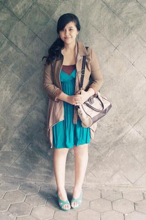 turquoise blue summer Topshop dress - tan Thrift Store jacket