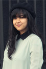 Light-blue-peterpan-collar-sheinside-blouse-black-beret-ebay-hat