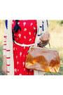 Red-maykool-dress-beige-gold-band-straw-gift-hat-tawny-milanoo-bag