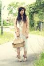 Nude-croc-satchel-minimal-bag-off-white-sheer-pleated-auburn-ginger-skirt