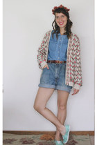 vintage shorts - Dominic & Maria cardigan - Forever 21 blouse