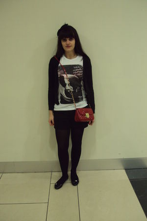 black B&M shirt - H&M cardigan - H&M shorts - Newlook shoes - Newlook accessorie