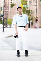 American Apparel hat - Hey Jude shirt - versace pants - nike sneakers