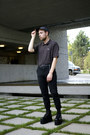 Vintage-boots-american-apparel-hat-lacoste-shirt-urban-outfitters-pants