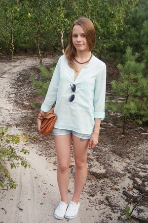 bronze vintage bag - light blue DIY shorts - white Vans sneakers