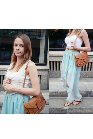 light blue Sheinside skirt - bronze vintage bag - eggshell Orsay vest