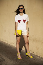 yellow H&M bag - cream Express shorts - blue H&M sunglasses