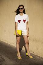 yellow H&M bag - cream Express shorts - blue H&M sunglasses