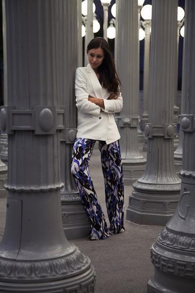 blue Vena Cava pants - white Zara blazer - white silk top H&M shirt