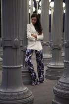 blue Vena Cava pants - white Zara blazer - white silk top H&M shirt