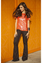 carrot orange sequins tops Lorena Sarbu top - black rag & bone jeans