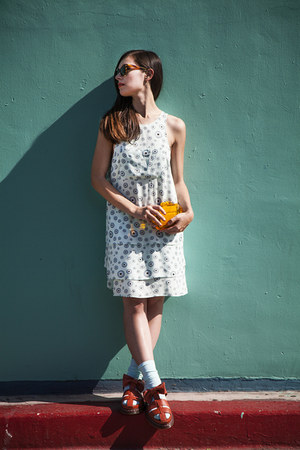 orange Zara bag - aquamarine Dr Martens dress - carrot orange Dr Martens sandals