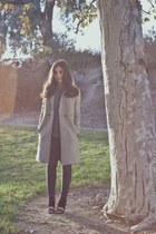 black cut out bootie Nasty Gal shoes - heather gray oversized Topshop coat
