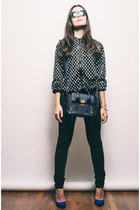 black 31 Phillip Lim bag - black sequin bomber Motel Rocks jacket