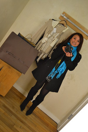 H&M jacket - long boots Aldo boots - blue scarf sasa scarf