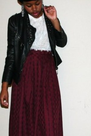 midi skirt - leather studded jacket - fluffy sweater