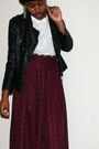 Leather-studded-jacket-fluffy-sweater-midi-skirt