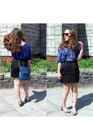 black H&amp;M skirt - teal Stradivarius bag - blue Stradivarius blouse