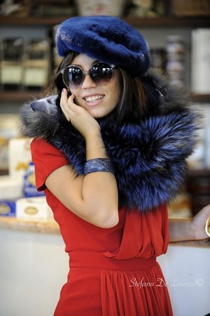 blue fur Carlo Ramello hat - red Moschino Cheap and Chic dress