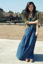 sky blue long dress H&M dress - army green cotton H&M blazer