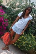 carrot orange Stella McCartney bag - light blue Zara shorts