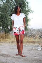 hot pink imperial shorts - white Zara t-shirt - gold Accessorize sandals