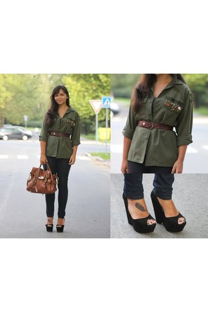 black Zara wedges - navy Zara jeans - army green US Air Force  DIY shirt