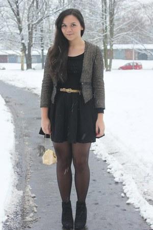 dark khaki lindex blazer - black Zara skirt