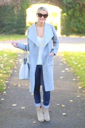 silver grey cotton Coatigan coat - jeans Jeans jeans