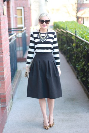 full midi skirt H&M skirt - leopard print next shoes - stripes Dunne stores top