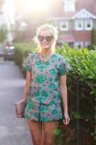 floral print Sheinside shorts - floral print Sheinsidecom top