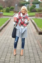 plaid Romwecom scarf - grey Romwecom coat