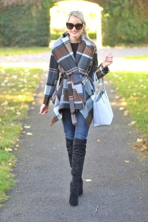 plaid wrap coat Chicwish jacket - Sheinside boots