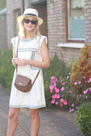 Bershka hat - embroidered asos dress