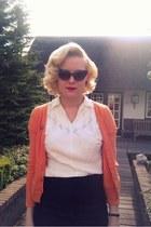 asos sunglasses - vintage blouse - H&M cardigan - Zara skirt