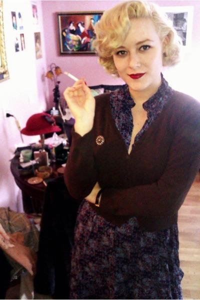 vintage dress - H&M cardigan