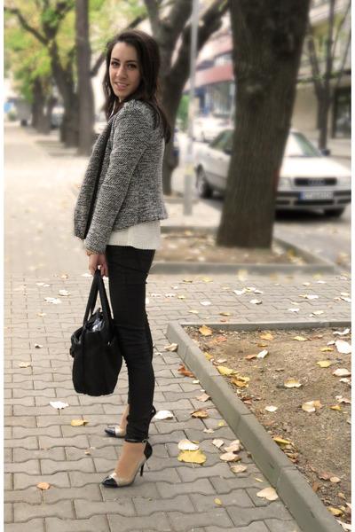 black leather pants Zara pants - black pointed toe heels