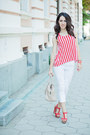 White-stradivarius-jeans-red-striped-h-m-top-michael-kors-watch